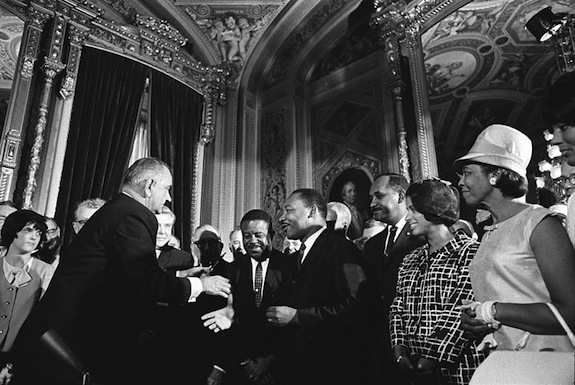 President Lyndon B. Johnson meets with Martin Luther King, Jr. Yoichi R. Okamoto/Public Domain/Wikimedia Commons