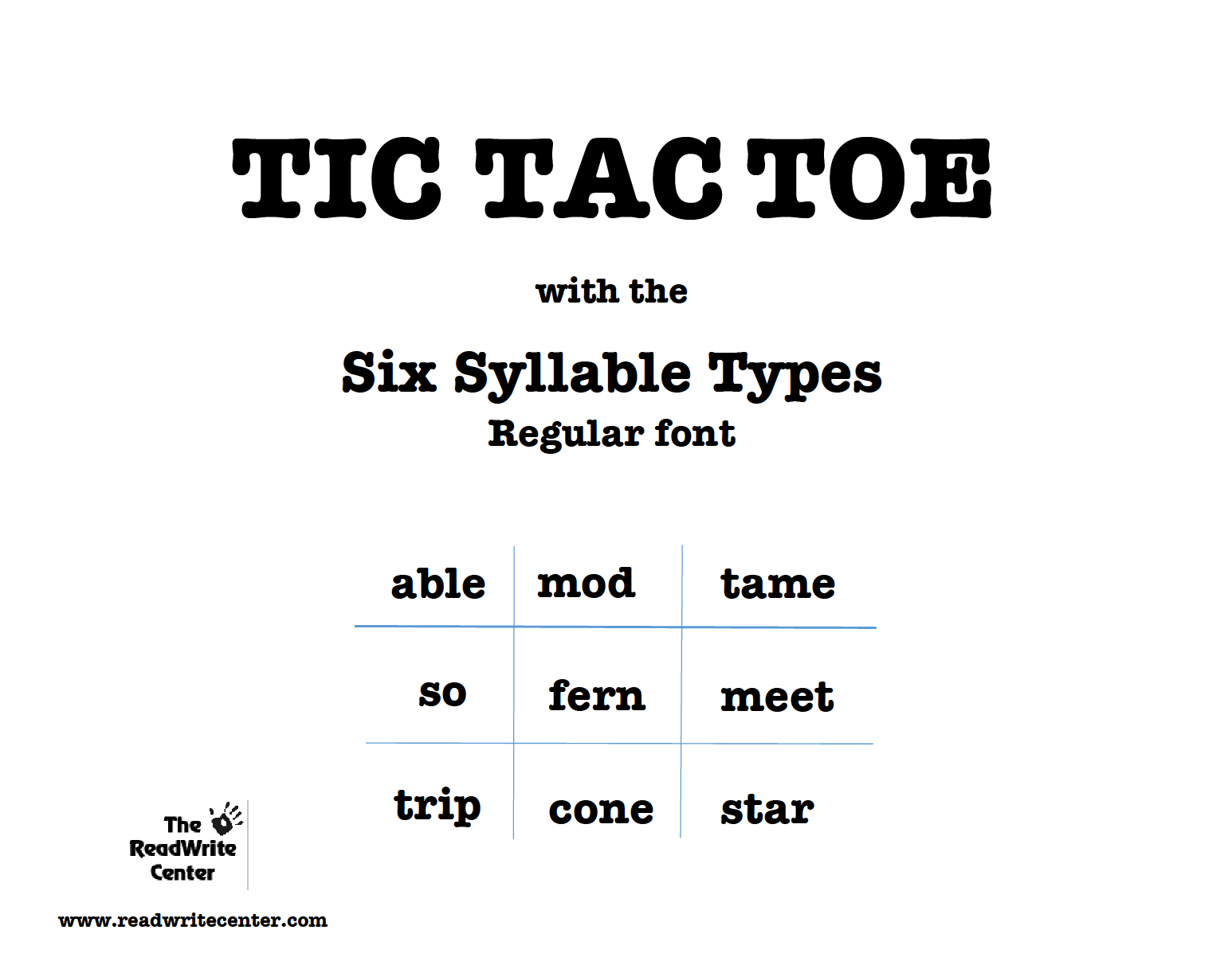 Tic Tac Toe 6 Syllable Types Game