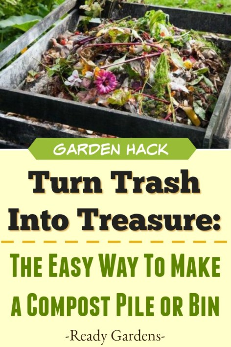 Composting not only reduces trash in landfills but also improves your backyard at home.  Your garden will produce healthier vegetables and more beautiful flowers with just the addition of a compost pile. Composting doesn't have to be difficult and although it may seem like a daunting task to get started, this helpful guide should help walk you through any rough patches. #ReadyGardens