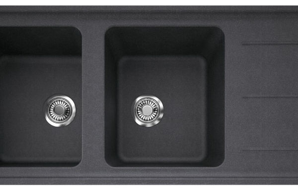 FRANK Impact Granite Reversible Double Bowl Sink with Drainer, Reversible No Taphole Black Onyx