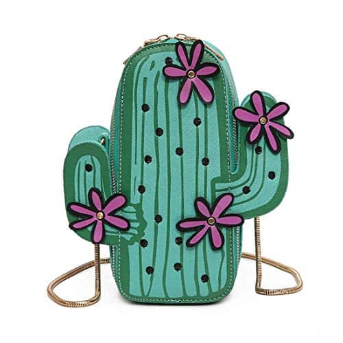 novelty cacti purse with pink flower
