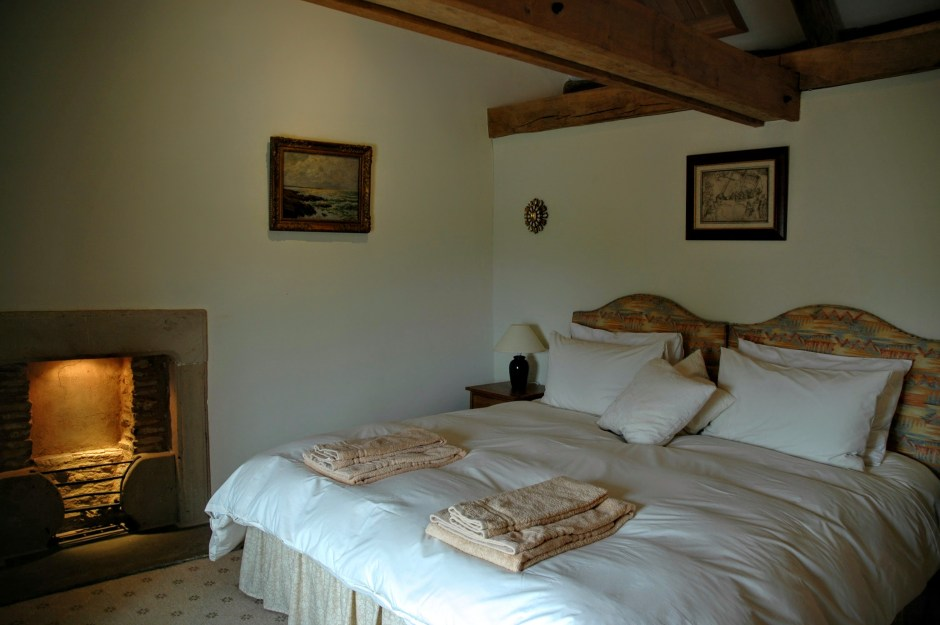 Super-king / Twin en suite bedroom with decorative fireplace - Yew Tree Farm Reagill