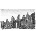 Manhattan skyline, from the Intercontinental Hotel, by Stephen Wiltshire