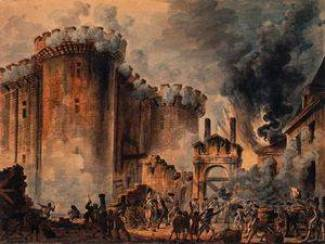 The storming of the Bastille. Learning history often includes the French Revolution