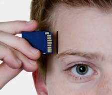 image of virtual memory chip being slotted in a man's head