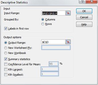 Dialog box for Excel's Descriptive Statistics data analysis tool