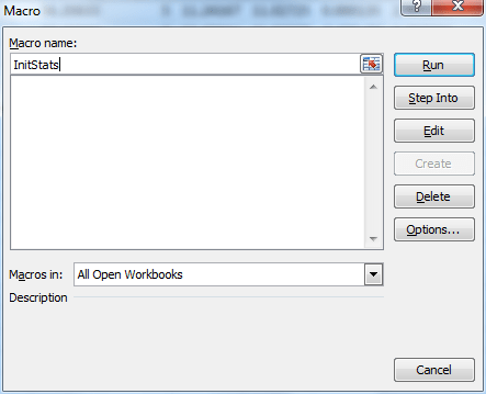 Macros dialog box