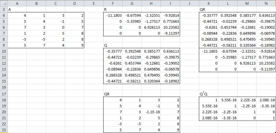 QR factorization Excel