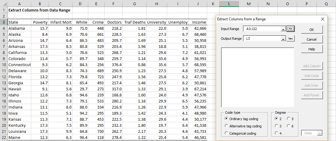 Extracting Columns from Data Range | Real Statistics Using Excel