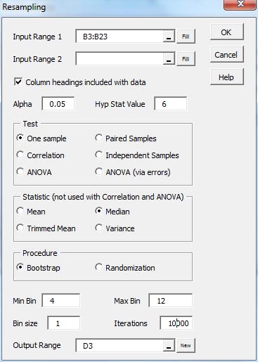 Resampling dialog box