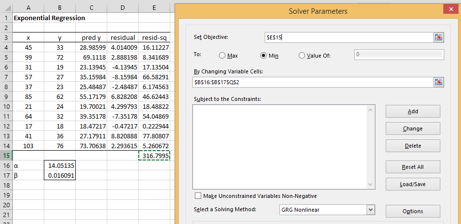 Exponential Regression Solver