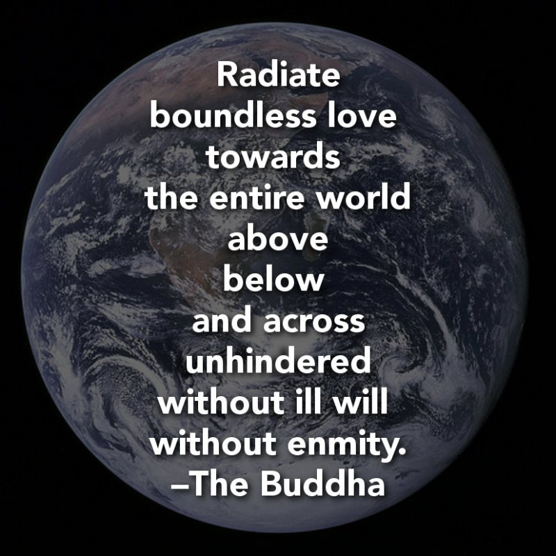 """Radiate boundless love towards the entire world — above, below, and across — unhindered, without ill will, without enmity."" – The Buddha"