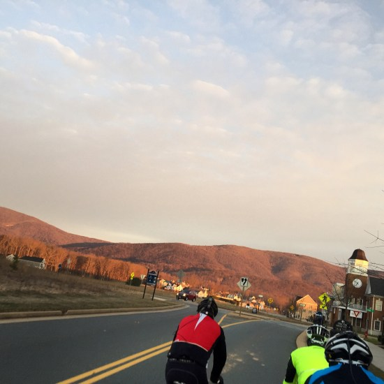 Riding a bicycle through Old Trail in Crozet