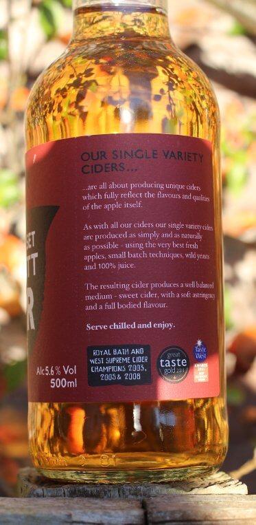 Sheppys Somerset Dabinett Cider bottle label