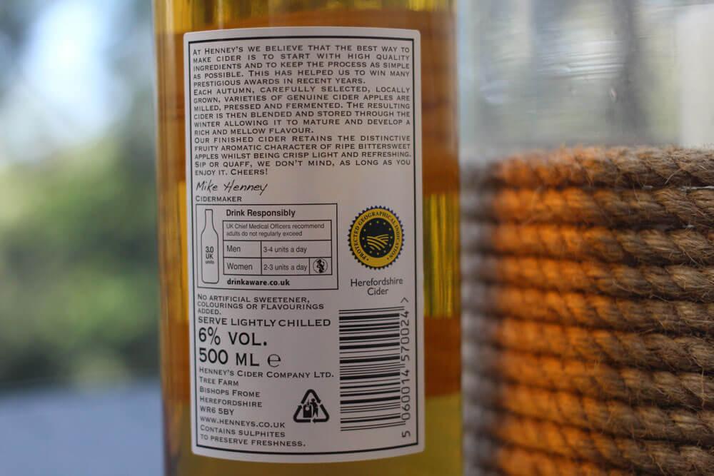 Henney's Dry Cider label