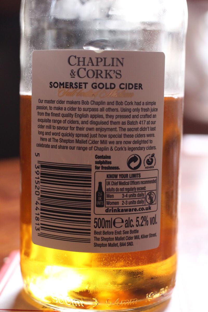 Chaplin & Corks cider bottle