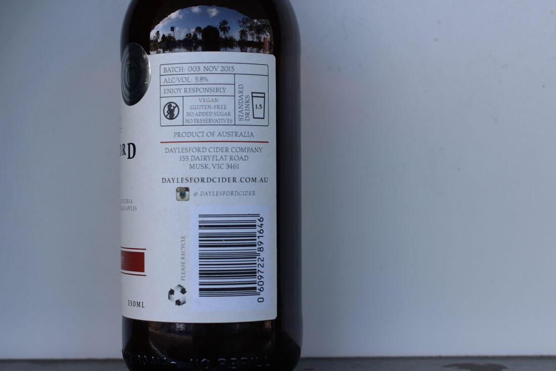 Daylesford Cider Alf n Alf bottle