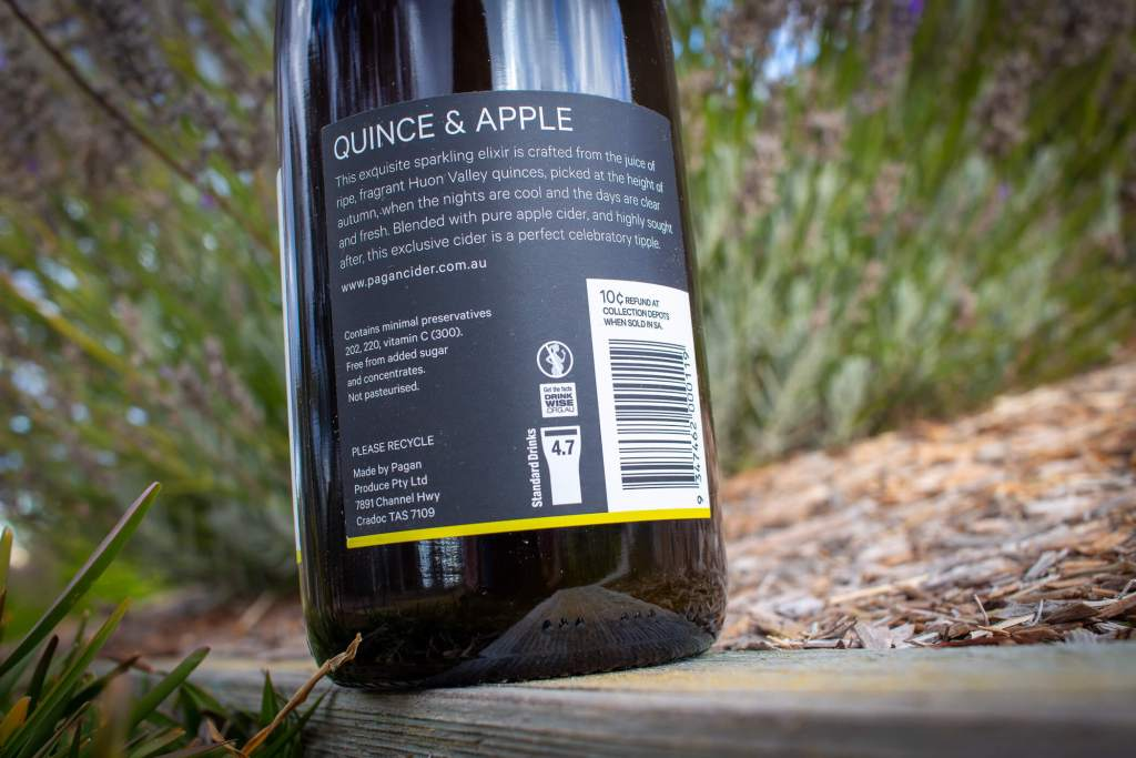 Pagan Quince Cider rear label showing 4.7% alcohol