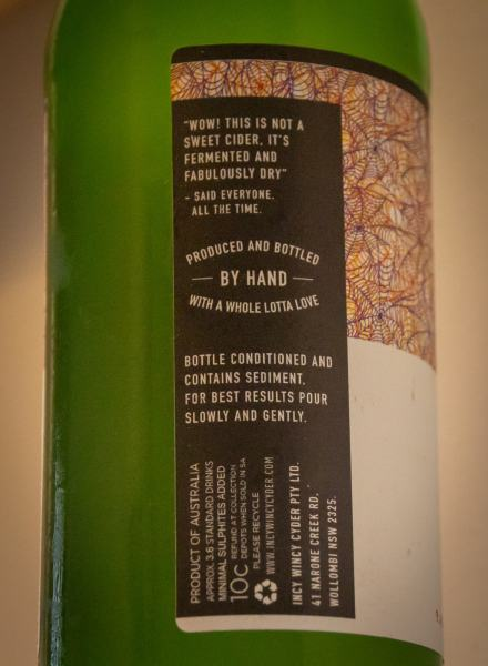 Incy Wincy Cider Wild 2017 rear label