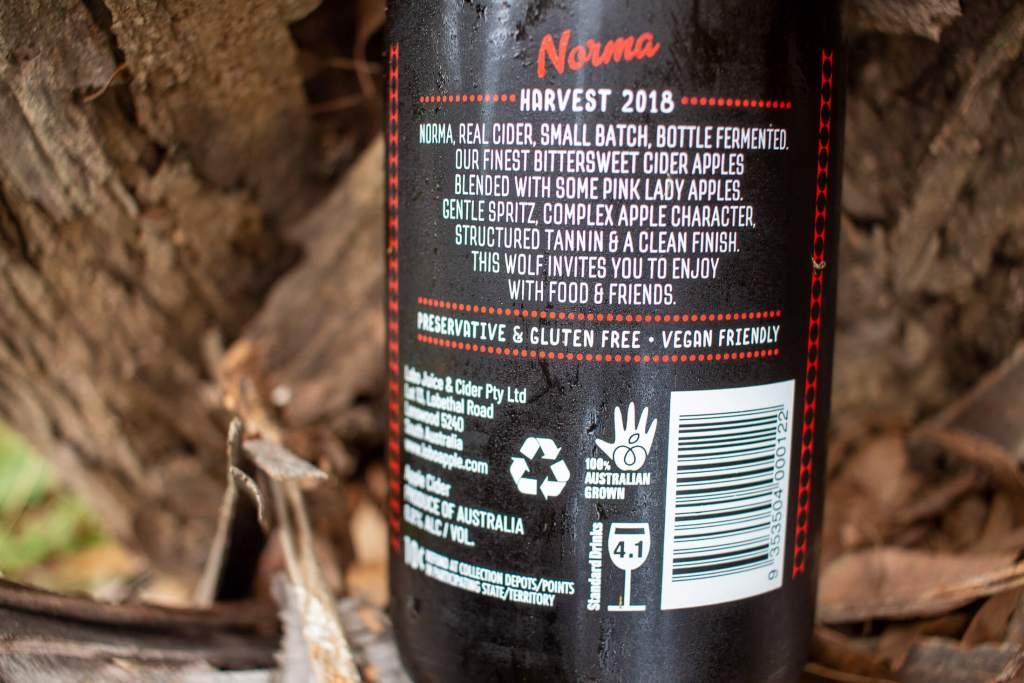 Lobo Norma Cider back of the bottle