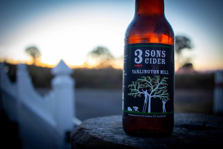 3 Son - Yarlington Mill Cider bottle at sunset