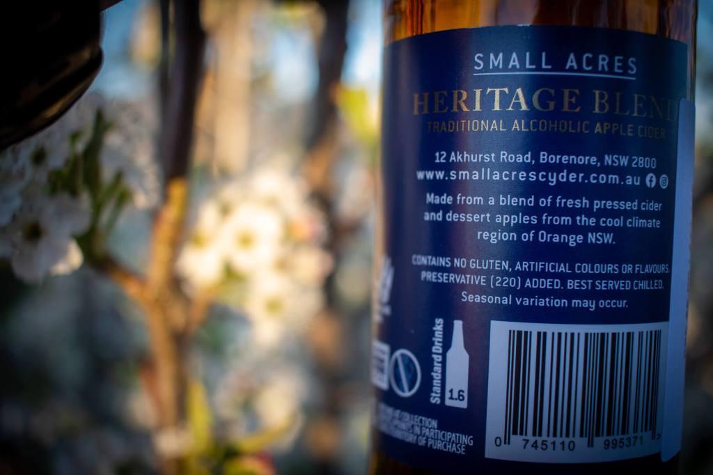 Small Acres Heritage Blend Bottle label