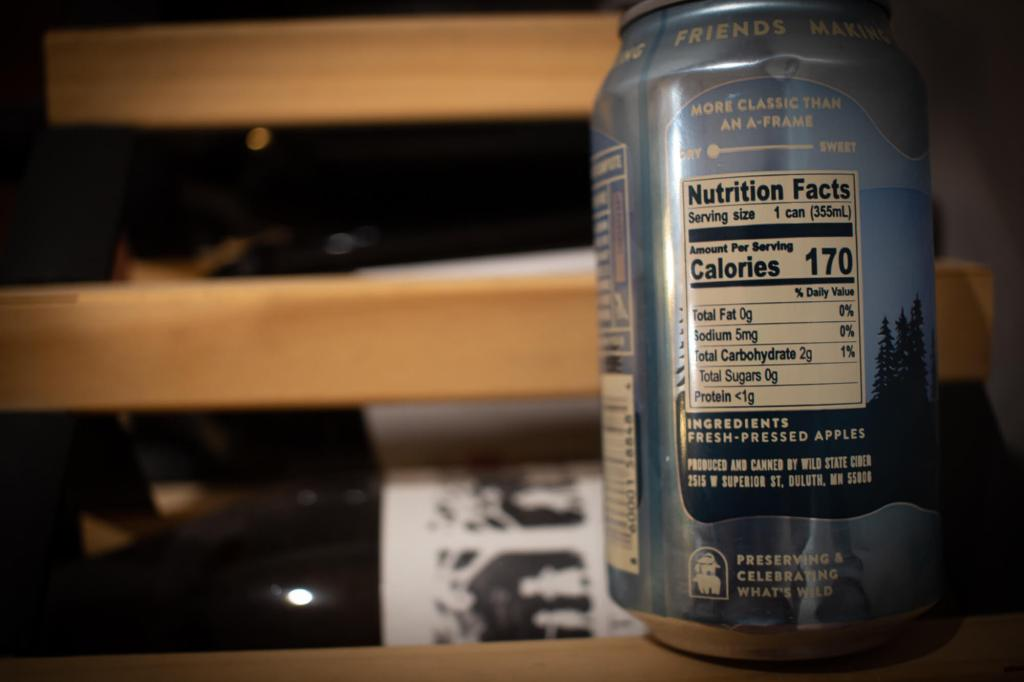 back of the can of Wild State Cider Classic Dry