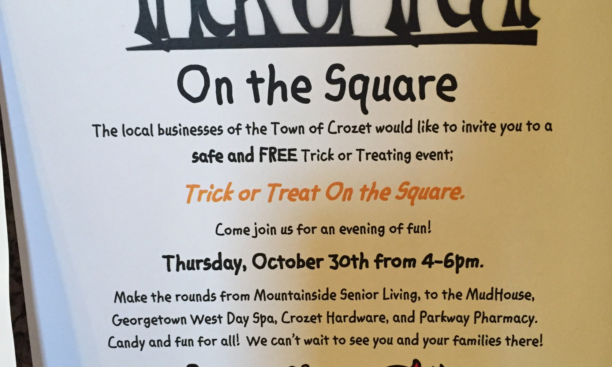 Trick or Treat on the Square - 30 October 2014