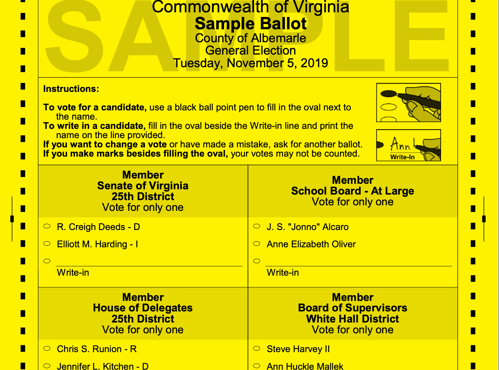 Sample Ballot -5 November 2019