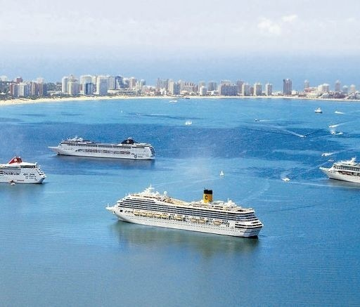 Cruise ships in Punta Del Este, Uruguay