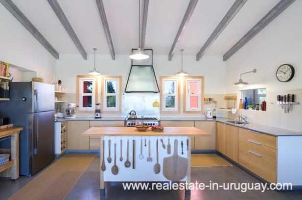Kitchen of Modern Sustainable Bio Chacra in Pueblo Eden New Built