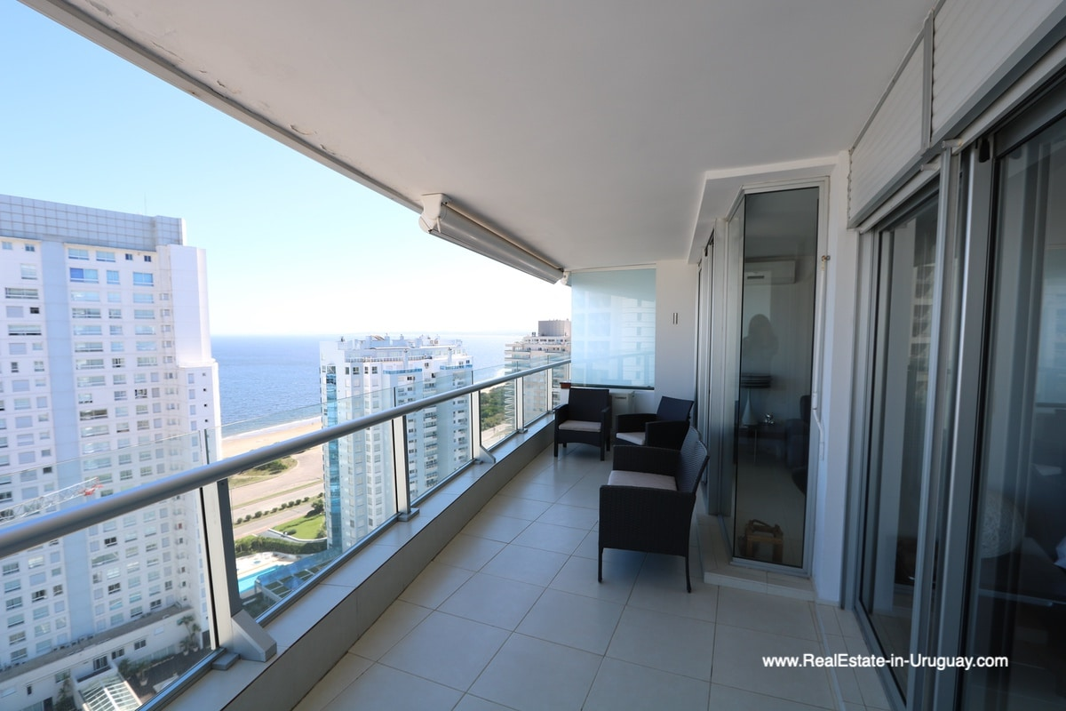Balcony of Bright Modern Apartment with Sea Views in Punta del Este