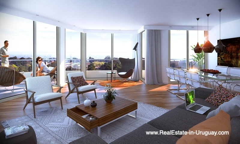 Living Room of New Apartments by the Golf Course in Punta Carretas in Montevideo