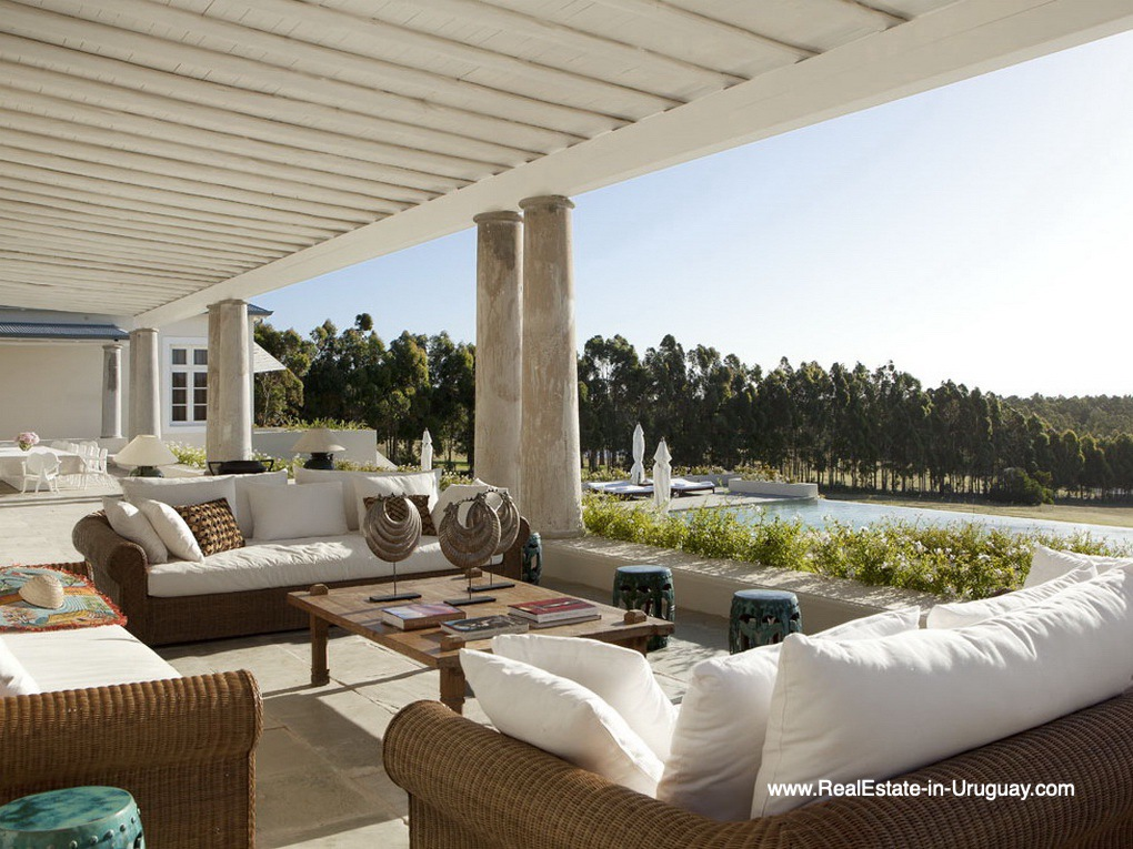 Terrace of Luxury Country Ranch by Golf Course La Barra outside Punta del Este