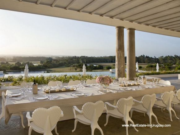 Outdoor Dining of Luxury Country Ranch by Golf Course La Barra outside Punta del Este