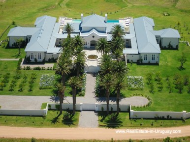 Aerial View Luxury Country Ranch by Golf Course La Barra outside Punta del Este