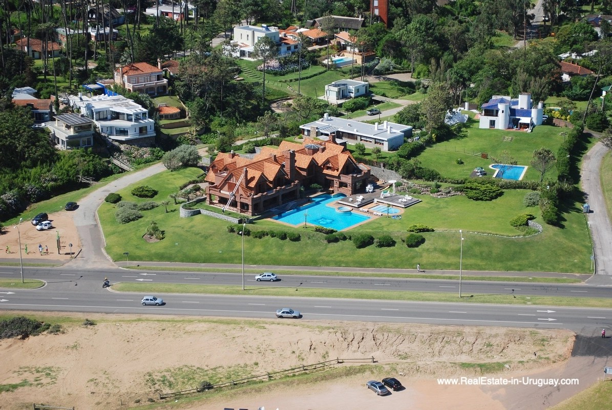 Aerial View of Frontline Estate on the Mansa Beach in Punta del Este