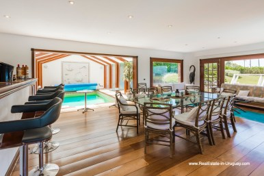 BBQ Room and Indoor Pool of Frontline Estate on the Mansa Beach in Punta del Este with incredible Views