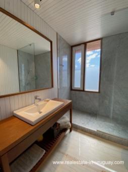 Guest Bathroom of Frontline Beach Home in San Antonio close to La Pedrera in Rocha with Sea Views