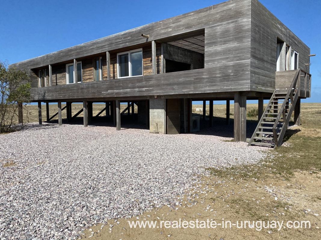 House front of Frontline Beach Home in San Antonio close to La Pedrera in Rocha with Sea Views