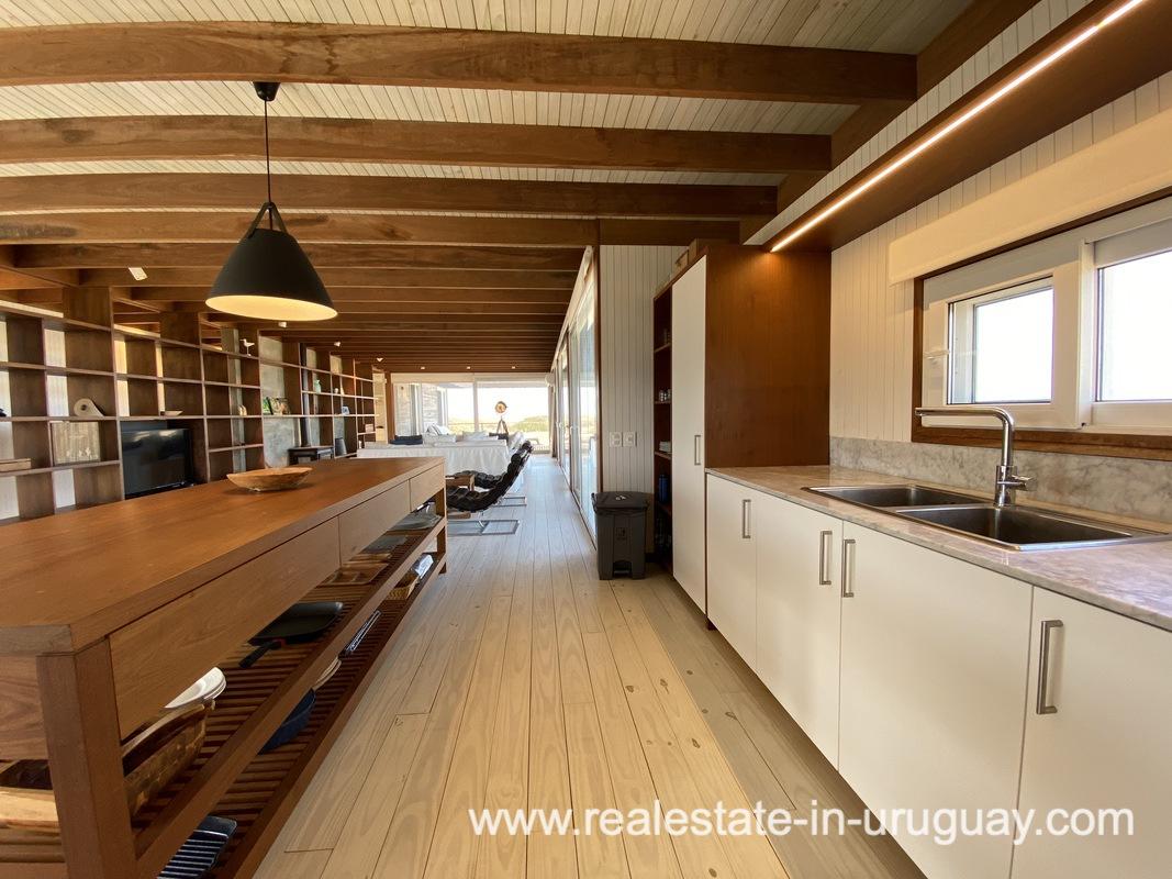 Kitchen of Frontline Beach Home in San Antonio close to La Pedrera in Rocha with Sea Views