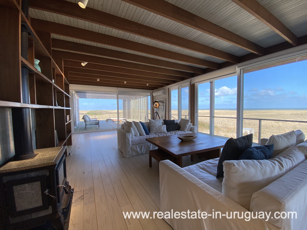 Living space of Frontline Beach Home in San Antonio close to La Pedrera in Rocha with Sea Views