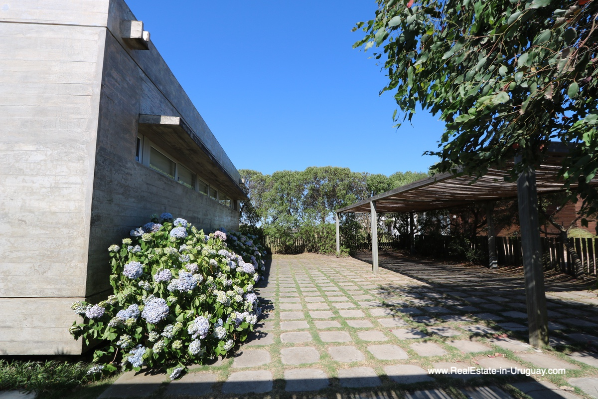 Back side and parking are of Modern Home in Santa Monica near Jose Ignacio on the Lagoon
