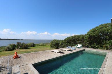 Pool and Lagoon view of Modern Home in Santa Monica near Jose Ignacio on the Lagoon