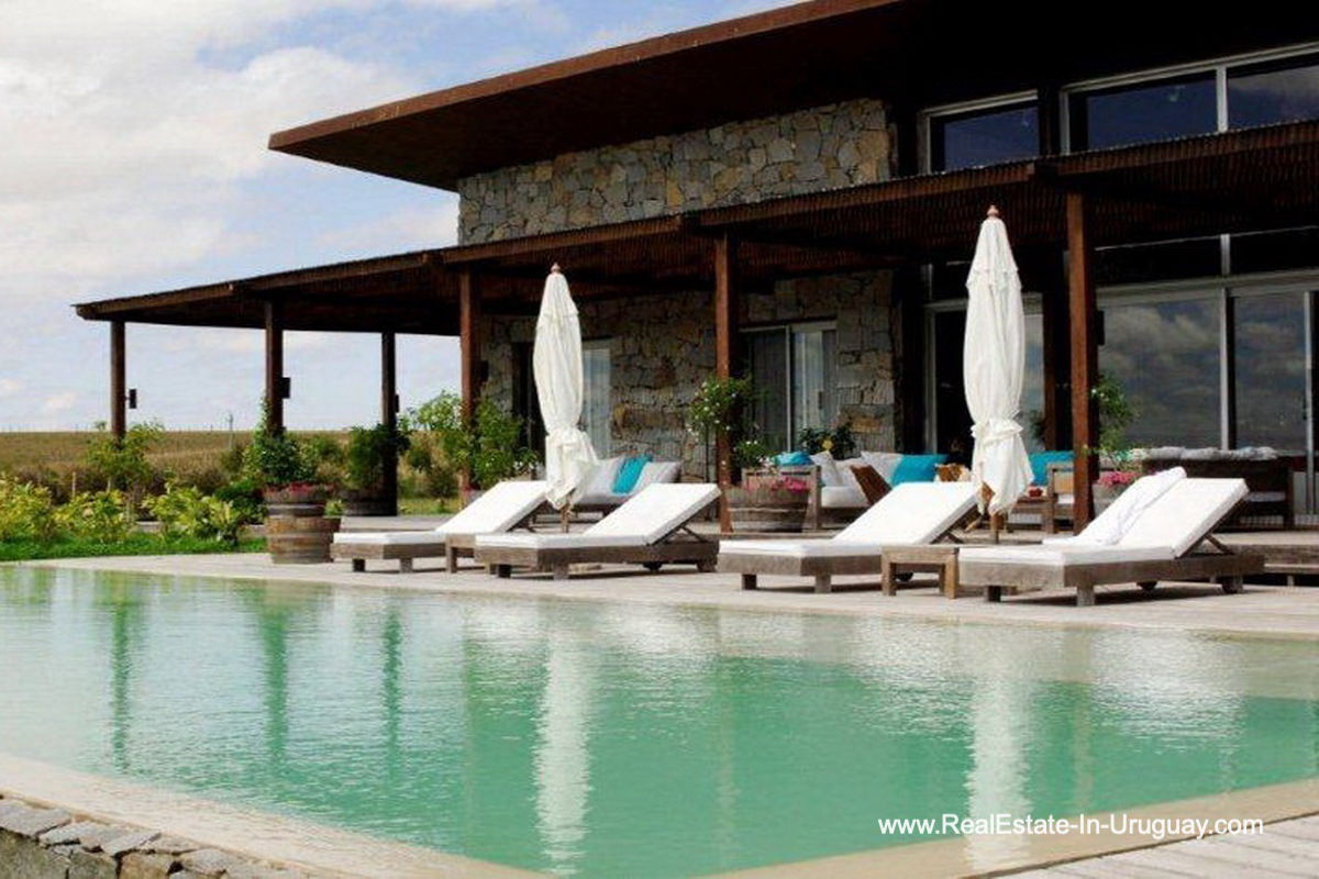 Pool of Wonderful Ranch with a Vineyard behind La Barra and Manantiales