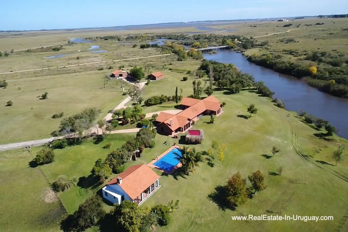 Aerial View of Estancia along the Jose Ignacio River