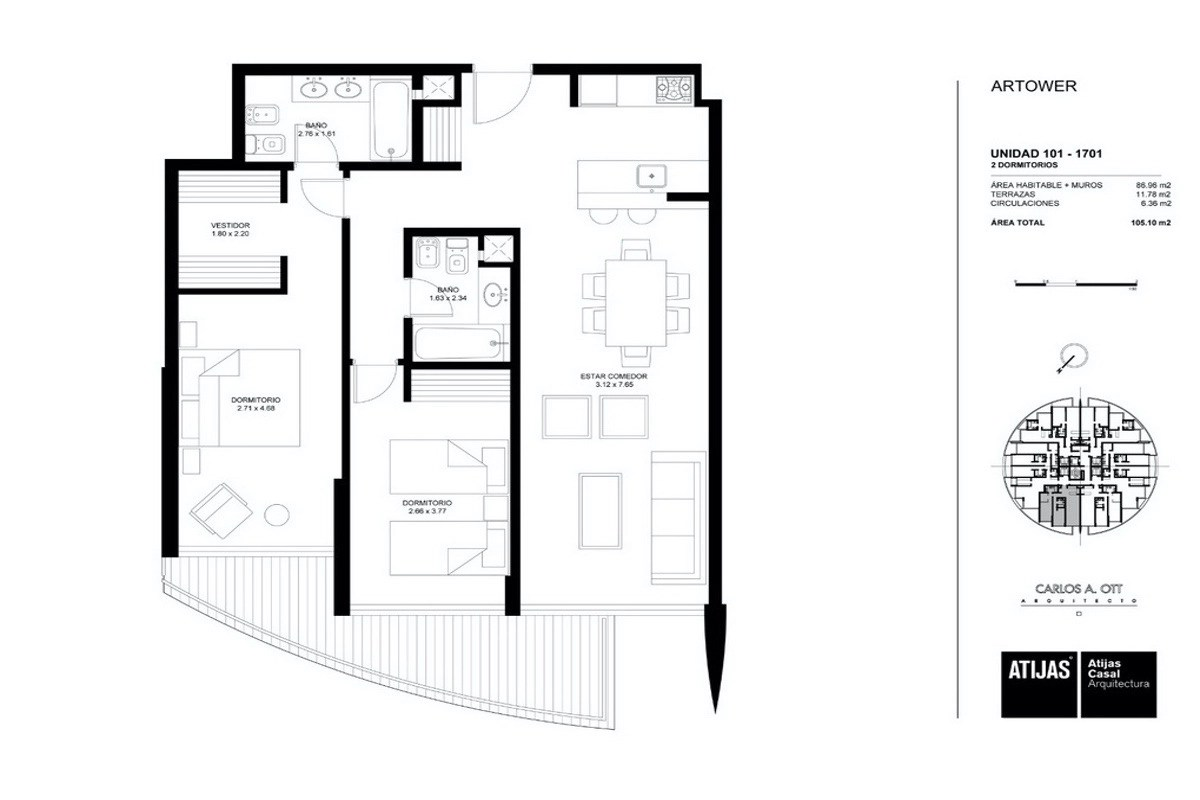 Floorplan of Apartment with Sea and Sunset Views