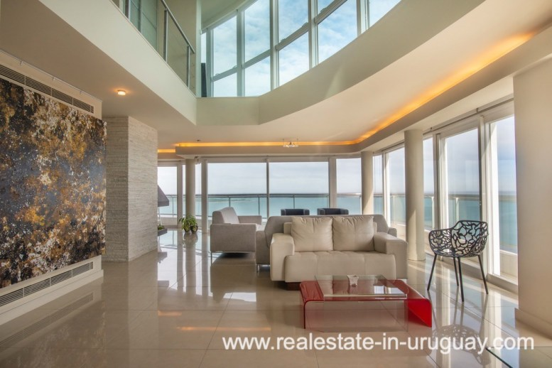 Living Area of Modern Large Penthouse on the Mansa in Punta del Este