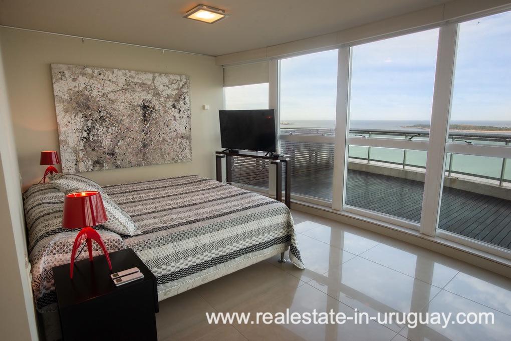 Master Bedroom of Modern Large Penthouse on the Mansa in Punta del Este