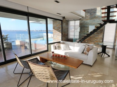 Living Room of Penthouse by the Punta del Este Harbor
